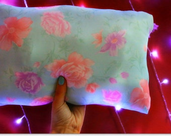 Mint Green Floral Pillow with Shiny Metallic Back
