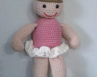 """Handmade Crochet Doll """"Little Ballet Dancer"""" art"""
