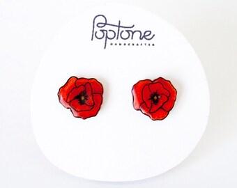 Red Poppy Earrings, poppies, red flower stud earrings, poppy studs, red poppies