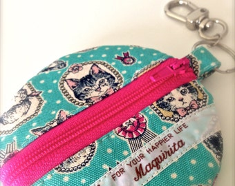 A Cat-Print Round Pouch
