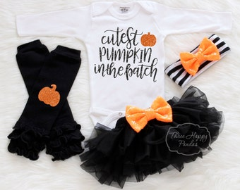 "Baby Halloween Outfit, ""Cutest Pumpkin In the Patch"", Baby First Halloween Outfit, Baby Halloween Costume, Personalized Halloween Outfit HH1"