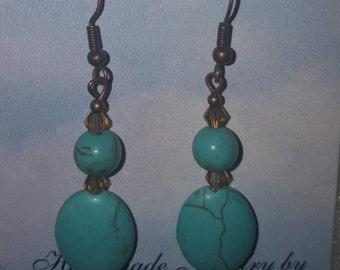 Turquoise w/Swarovski Crystal Earrings
