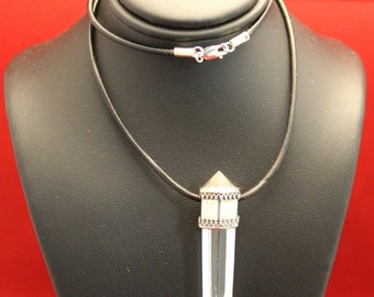 Sterling Silver Furnished Quartz Crystal Pendant Necklace