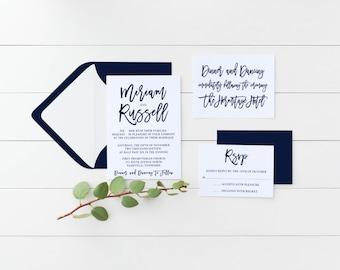 Printable Wedding Invitation Set, Navy Wedding Invitation Suite, Classic Wedding Invite Set, Spring Summer Navy Wedding Invitation Set Theme