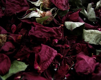 Rose Petals and Leaves Burgundy Dark Red Dried Rose Petal Mix Flower Craft Decor Ornament Filler Wedding