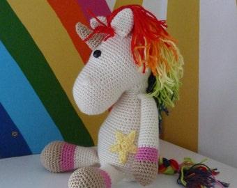 Handmade crochet unicorn with rainbow mane *Eunice* - soft toy