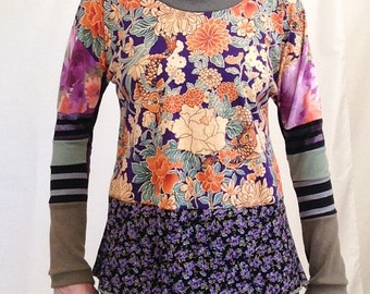 Floral Colorblock Top, Size XS, Boho Upcycled Top, Boho Top, Floral Top, Long Sleeve, Gypsy Top, Upcycled Top, Purple Floral, Mixed Print