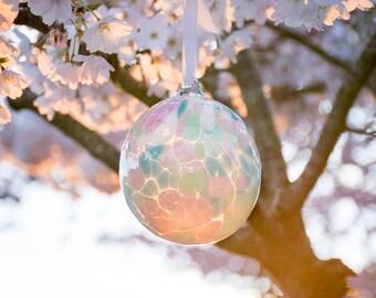 Ornament Hand Blown Art Glass Witch Ball Friendship Ball Pastel Pink Purple