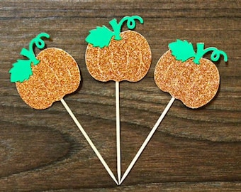 Pumpkin Cupcake Toppers - Sparkly Orange and Green