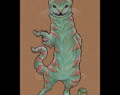 Cheshire Cat-Ferret Signed Art Print-You Choose Size-Alice in Wonderland Fantasy Story Book Mad Hatter Tea Party Teal Pink Weasel Anthro