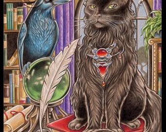 Black Cat and Raven Friend Art Print-Choose Your Size, Gothic Goth Victorian Anthro Cat Art Books Author Poe Animals Birds Crow Fantasy