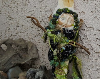 Cottage Green Kitchen Witch, Besom, Spirit Protector, Shabby Chic Decor,ooak art doll