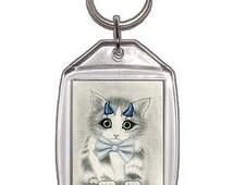 Cute Devil Kitten Keychain Little Blue Horned Devil Cat Art Keychain Keyring Cat Lovers Gift