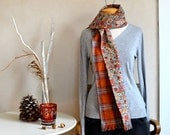 Cotton Wool Scarf Orange Plaid & Floral Lining Fabric Scarves