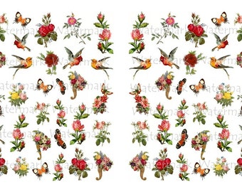 Rose Water-Slide Decals, Bird Decals, Decorate Flame-less Candles, Soap, Glass, Home Decor, Furniture, Jewelry, Craft Projects