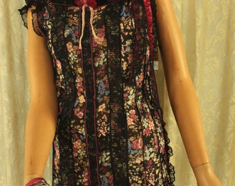 cool breezy boho GYSPY flapper style free and easy summer dress - black, pink and blue with lace  #114D - ***