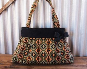Fall Handbag,Shoulder Bag,Bags and Purses, Fabric Purse, Diaper Bag, Gift for Mom, Carpet Bag, Ready to Ship