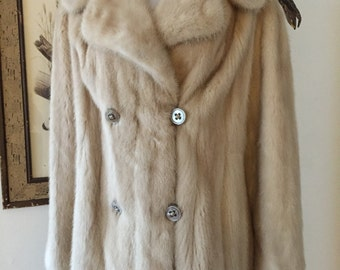 Gorgeous Creamy White Real Mink Double Breasted Coat