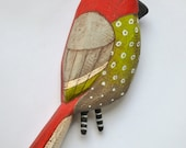 Original Hand-Painted Christmas Bird Wooden Sculpture Folk Art Ornament OOAK