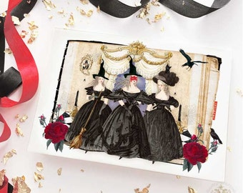 Halloween card, 3 witches, Marie Antoinette, halloween witch, halloween party, black cat, halloween holiday card, blank halloween card