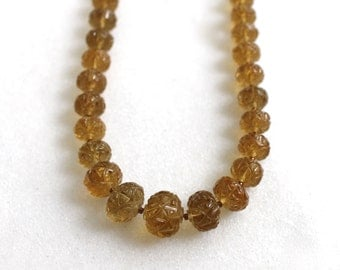 AAA Whiskey Quartz Carved Bead, 22kg Vermeil Necklace...