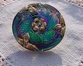 Emerald Fuchsia Golden Floral Wreath Czech Glass Button