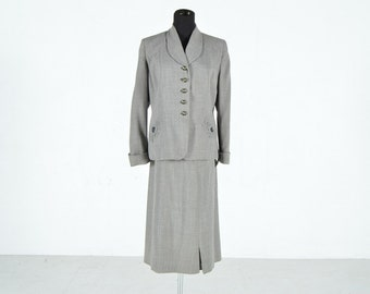 Vintage 1940s Women's Wool Suit with Beaded Accents