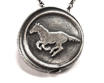 Running Wild Galloping Horse Wax Seal Necklace in Fine and Sterling Silver