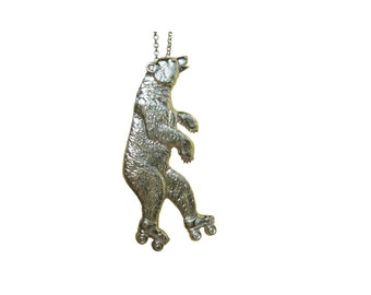 Bear Necklace      charm roller skate skating pendant rollerskate silver gold jewelry