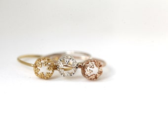 Mini Gold-vermeil Crown. Gold plated silver ring. wedding band. engagement ring
