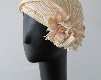 Ivory Pearl and Floral Hat