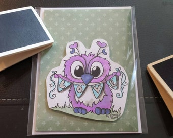 Handmade Card Brentwood Owl 4 X 5 with envelope stamped, colored with Copic markers