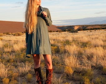 ORGANIC Chunky Cowl Wanderer Tunic - ( organic tissue cotton knit ) - organic cotton dress