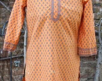 Orange and blue cotton India tunic small medium