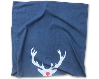 Gifts for the Host - Antler Decor - Navy Blue and Silver Antler Dish Towel / Gifts under 25 / Boho Christmas / Metallic Home Decor