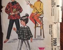 "Pants Top Pattern McCall's #7093 Girl's Vintage Size 6x Bust 25"" -WV- Vintage McCall's Pattern / 60s McCall's / Sewing Pattern / 60s Pattern"