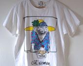 Vintage 90s Cat Woman Graphic T-Shirt