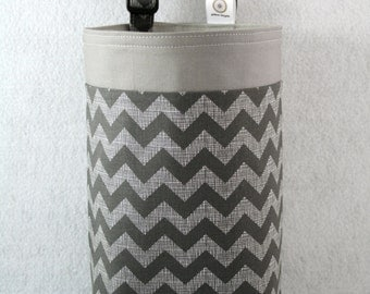 Car Litter Bag - Car Trash Bag -  Car Garbage Bag - Gray Grey Chevron - Car Organizer