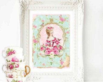 Marie Antoinette print, French vintage decor, pink roses, vintage wallpaper, high tea, let them eat cake, pink, mint green, home decor, A4