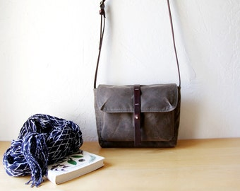 The Satchel in Stone Waxed Canvas w/ brown leather // sized for iPad