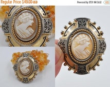 ON SALE Vintage Art Deco Shell Cameo Brooch, Gilt, Gold Washed, Taille D' Epargene Frame, Black Enamel, Right Facing, 1930s, Lovely! #K021