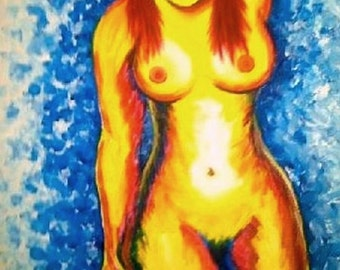 "Nude Redhead Woman Portrait in Primary Colors - Yellow, Red, and Blue 18"" x 24"" Original Acrylic Painting on Canvas Ready to Hang"
