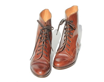 Vintage Italian Brown Leather Boots / Ankle Lace Boots / Size 7