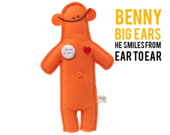 """The Mefits Benny Big Ears Doll with Illustrated Color Storybook, """"I smile from ear to ear"""""""