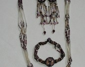 Guatemalan Made Beaded Necklace Set In Purple, White, Gunmetal, Lavender Colors, Vintage, Handmade, Intricate, Three Pieces, Beautiful