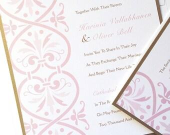 Blush Pink Wedding Invitation, pale pink wedding invite, Romantic invitations, elegant Wedding invitation, gold invitation, beautiful invite