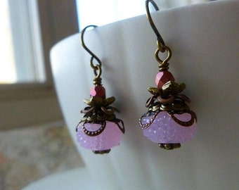Pale Pink Antique Style Earrings with Czech Glass and Antiqued Brass