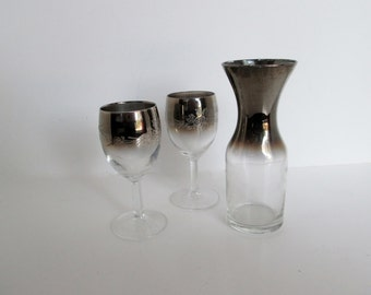 Silver Ombre Glass Romantic wine for 2 glasses mid century wine set small carafe mad men Dorothy Thorpe Style, wedding anniversary gift