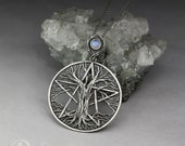 Tree pentacle - carved silver pendant with a moonstone, limited collection