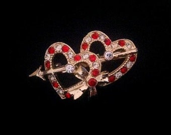 Vintage 1960s Hearts Brooch . Retro 60s Red n Gold with Arrow . Rhinestones Gold Tone Pin . Valentines Love